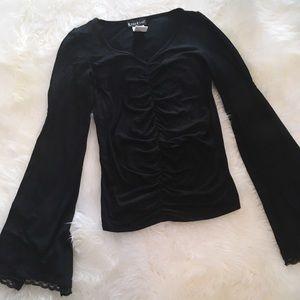 Vintage Black Bell Sleeved Ruched Top